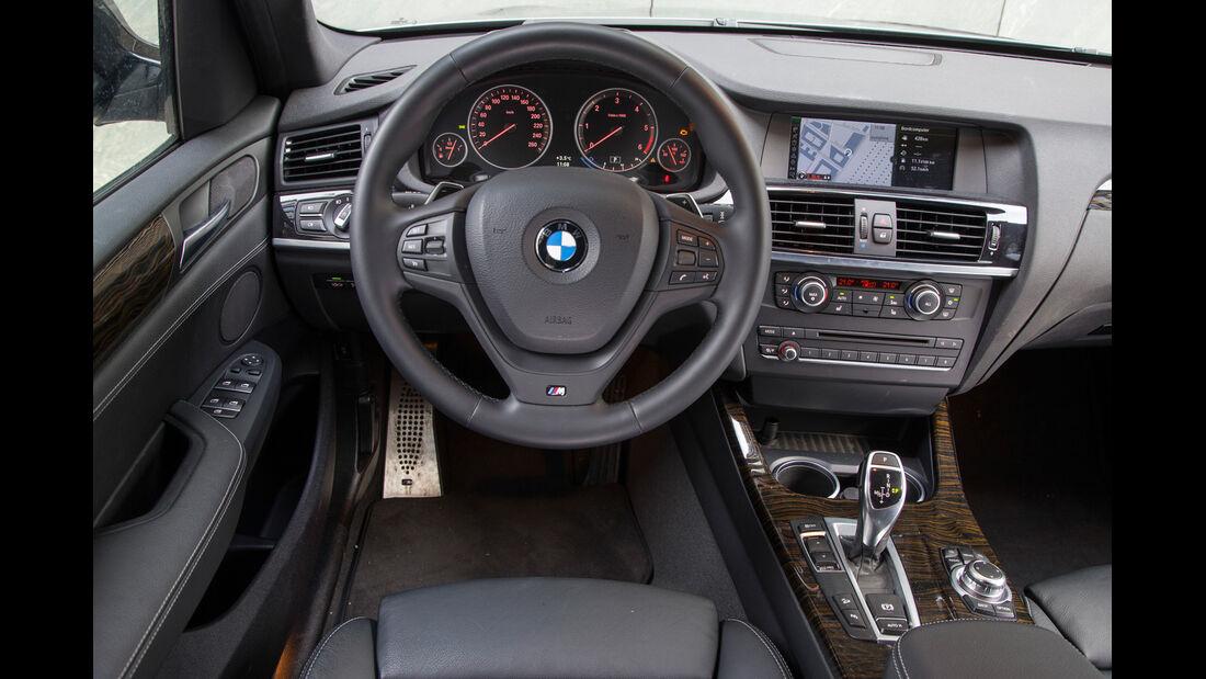 BMW X3 35d x-Drive, Cockpit, Lenkrad