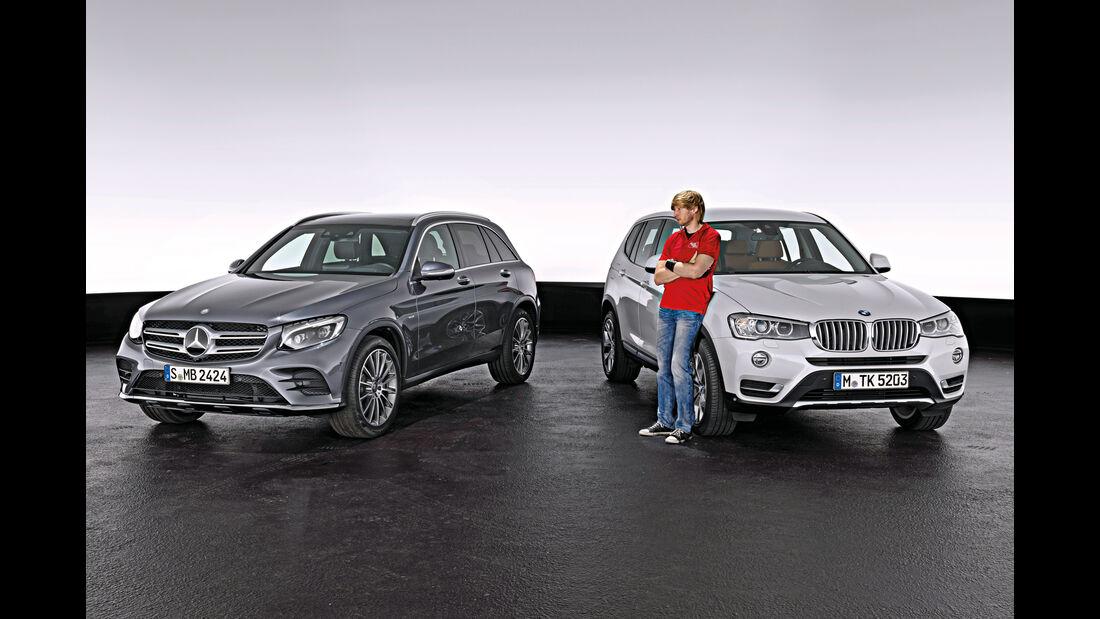 BMW X3, Mercedes GLC, Frontansicht