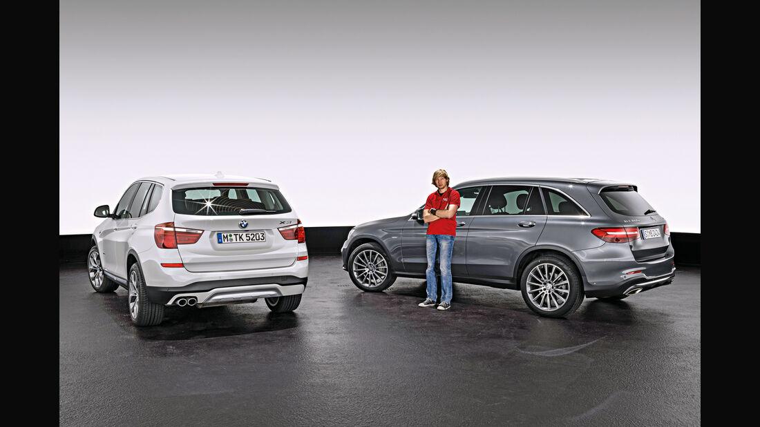 BMW X3, Mercedes GLC, Heckansicht