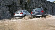 BMW X3 x-Drive 20d, Mercedes GLK 220 CDI Bluetec, Heckansicht