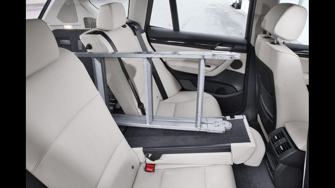 BMW X3 x-Drive 30d, Rücksitze, Leiter