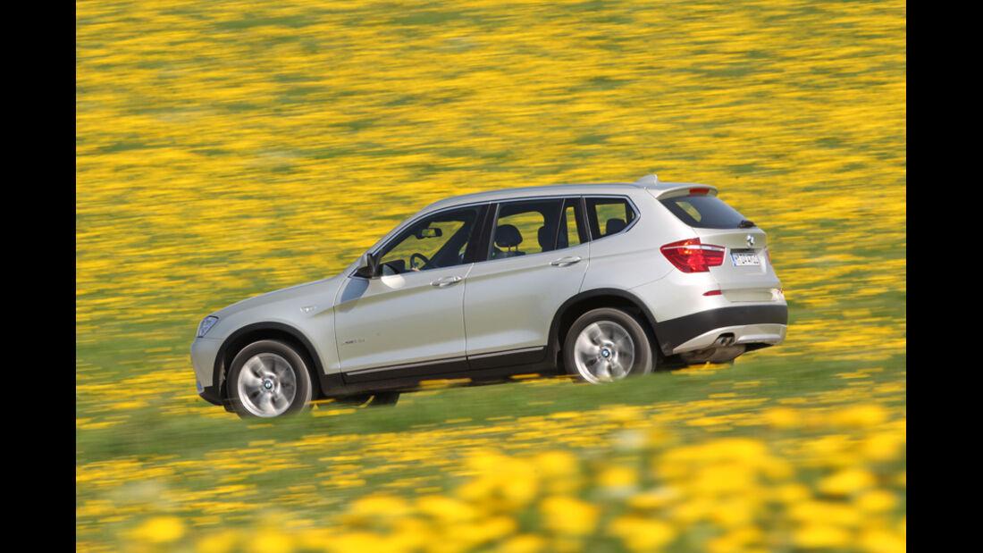 BMW X3 x-Drive 30d, Seitenansicht, Wiese, Überlandfahrt