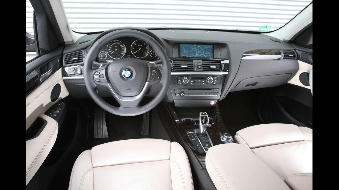 BMW X3 x-Drive 35d, Cockpit, Interieur, Lenkrad