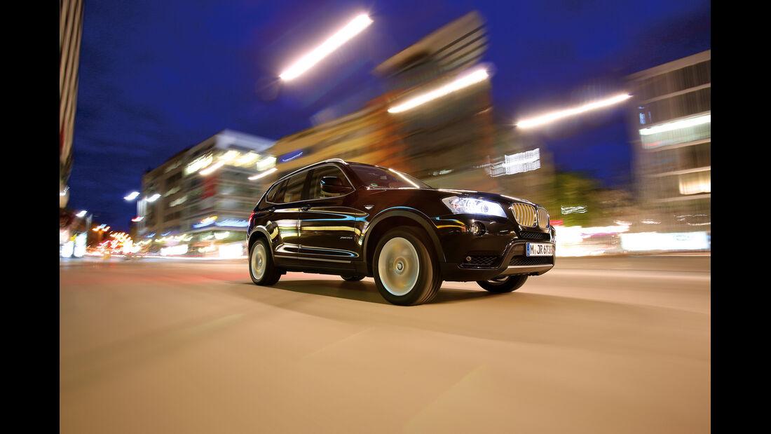 BMW X3 x-Drive 35d, Frontansicht, Seitenlinie
