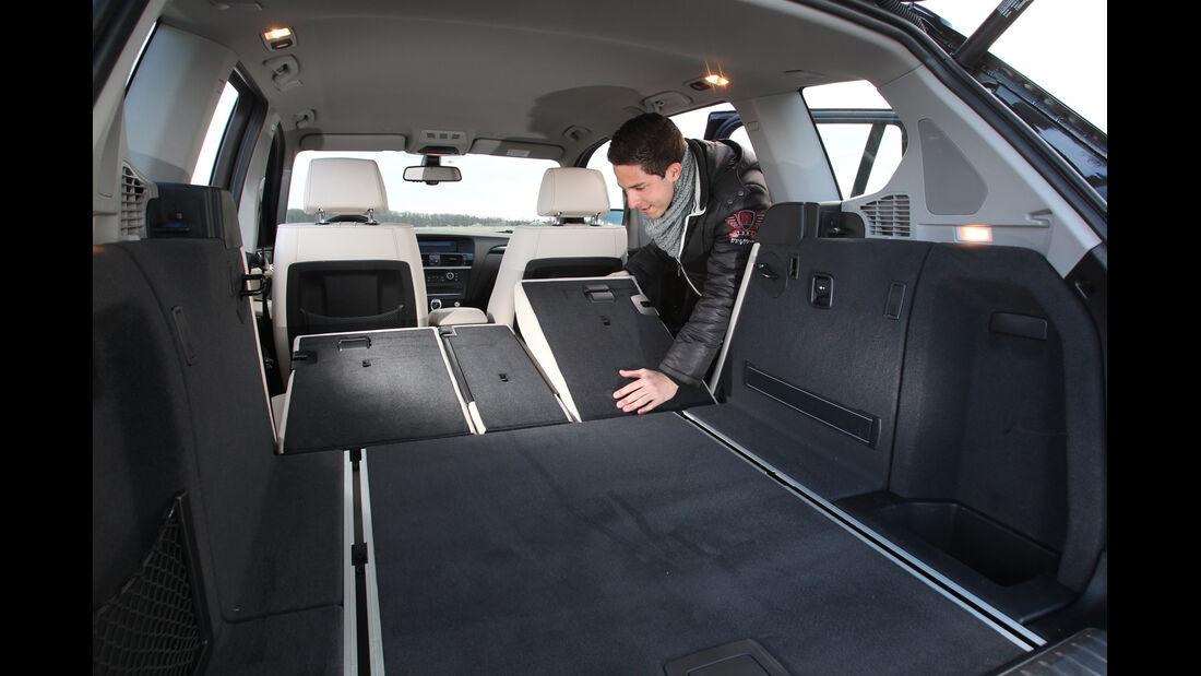 BMW X3 x-Drive 35d, Ladefläche, Rückbank umklappen