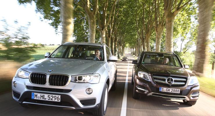 BMW X3 xDRIVE 20d, Mercedes GLK 250 Bluetec 4Matic, Frontansicht