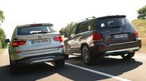 BMW X3 xDRIVE 20d, Mercedes GLK 250 Bluetec 4Matic, Heckansicht