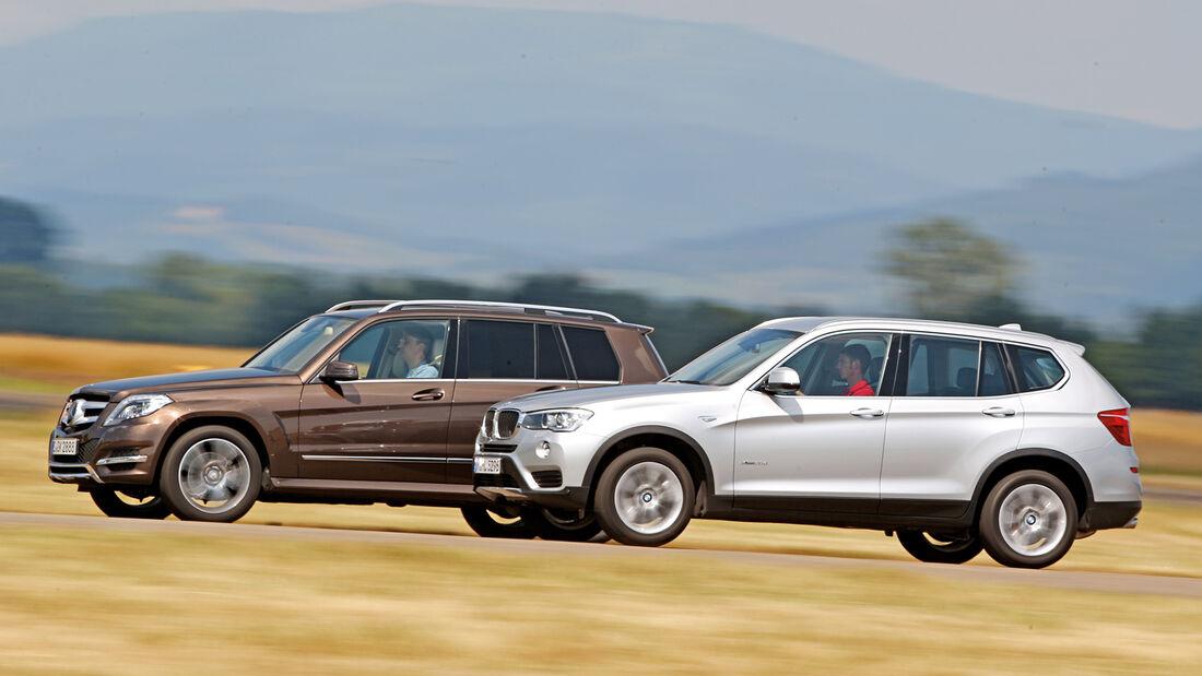 BMW X3 xDRIVE 20d, Mercedes GLK 250 Bluetec 4Matic, Seitenansicht