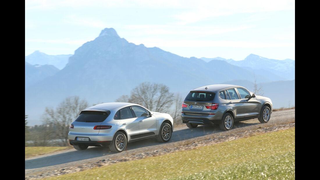 BMW X3 xDrive 28i, Porsche Macan, Heckansicht