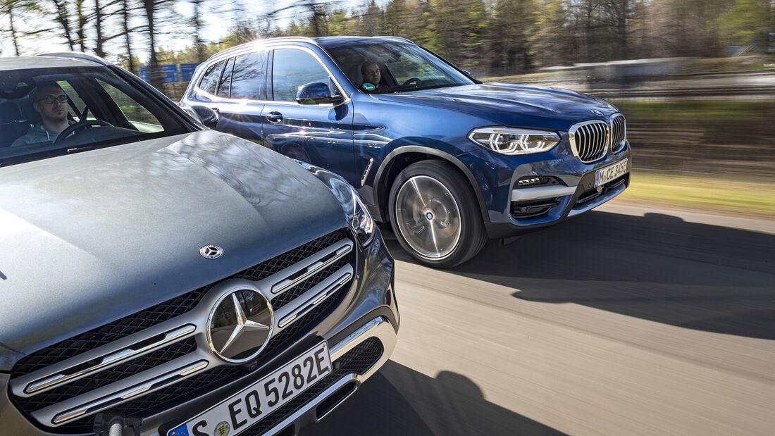 BMW X3 xDrive 30e, Mercedes GLC 300e, Exterieur