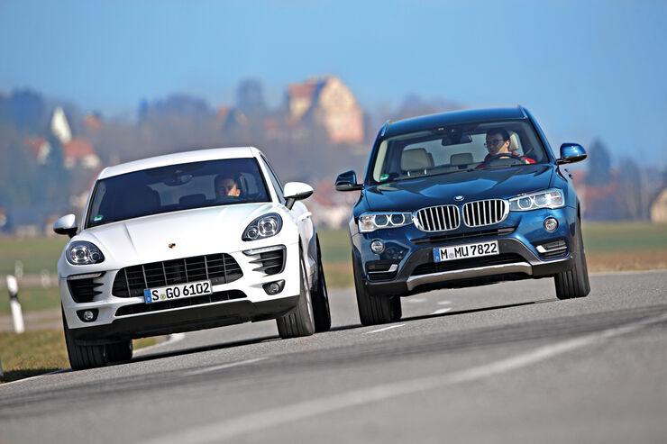 BMW X3 xDrive 35d, Porsche Macan S Diesel, Frontansicht
