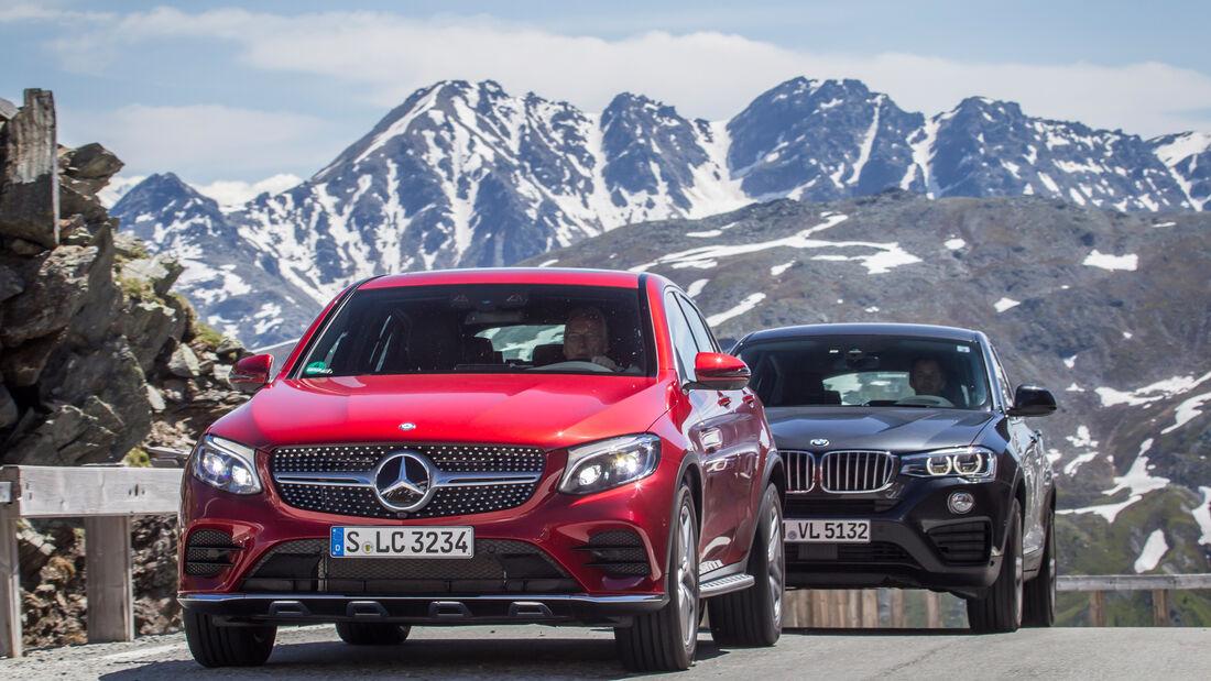 BMW X4, Mercedes GLC Coupé, Frontansicht