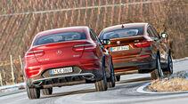 BMW X4 xDrive 28i, Mercedes GLC 300 4Matic Coupé, Heckansicht