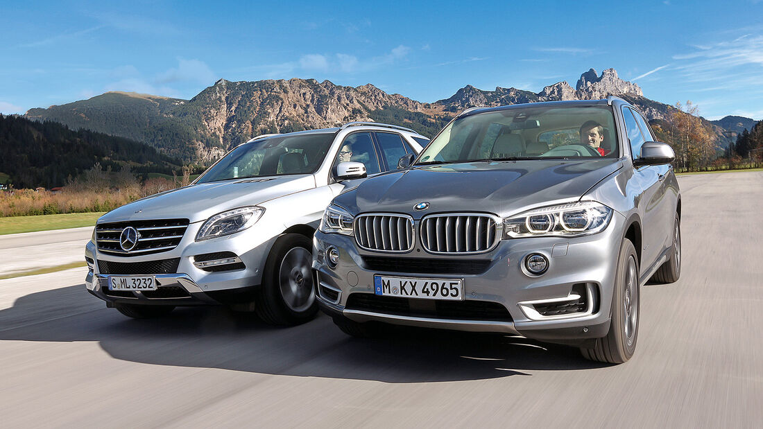 BMW X5 30d, Mercedes ML 350 Bluetec, Frontansicht