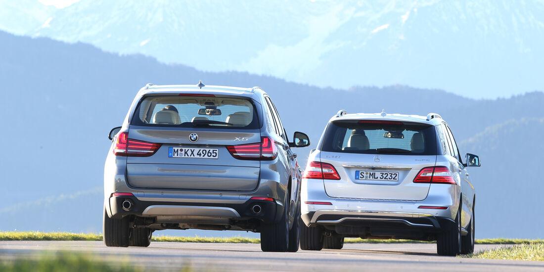 BMW X5 30d, Mercedes ML 350 Bluetec, Heckansicht