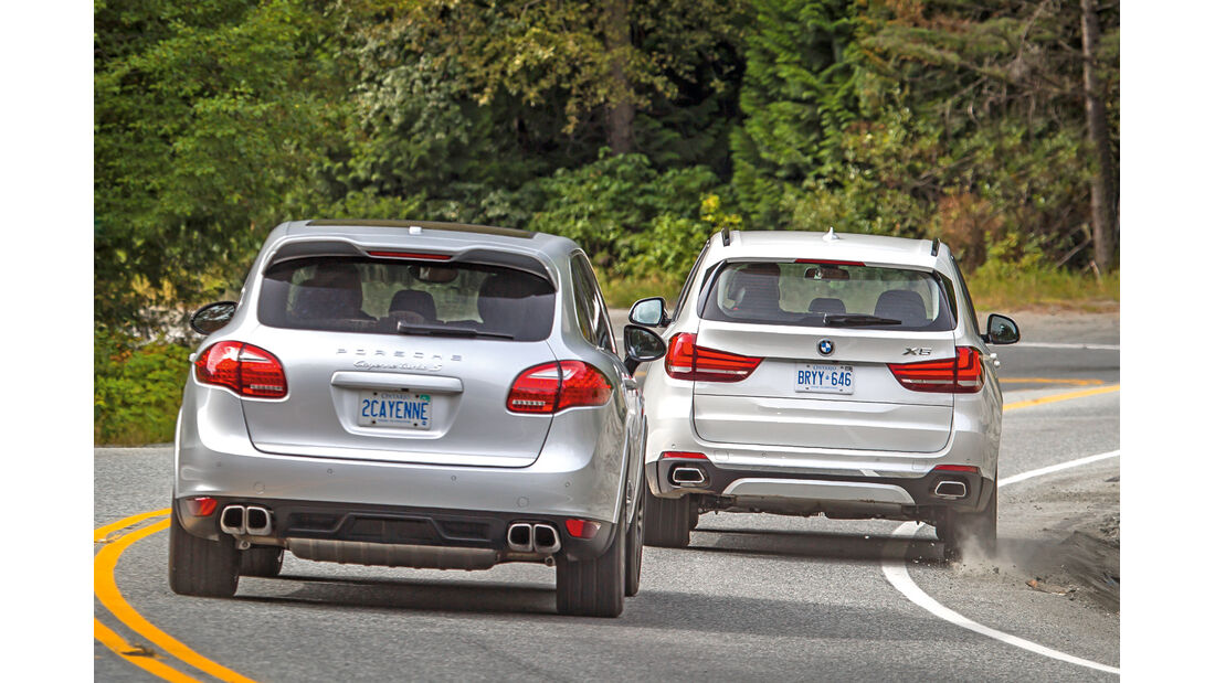 BMW X5, Porsche Cayenne, Heckansicht