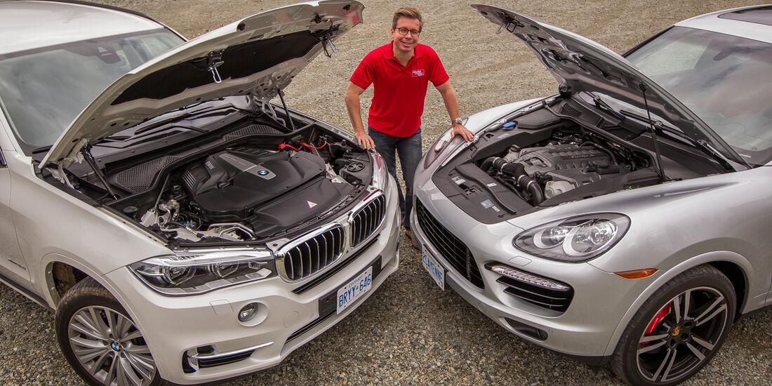 BMW X5, Porsche Cayenne, Motorhaube