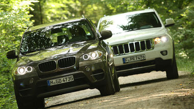 BMW X5 x-Drive 3.0d, Jeep Grand Cherokee 3.0 CRD Overland, Front
