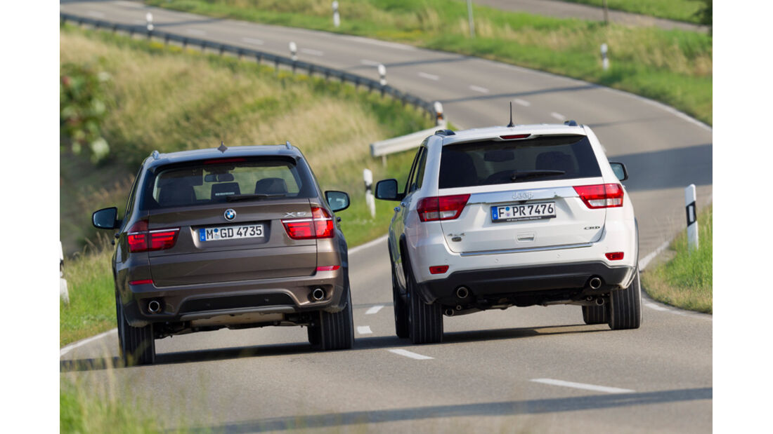 BMW X5 x-Drive 3.0d, Jeep Grand Cherokee 3.0 CRD Overland, Rückansicht
