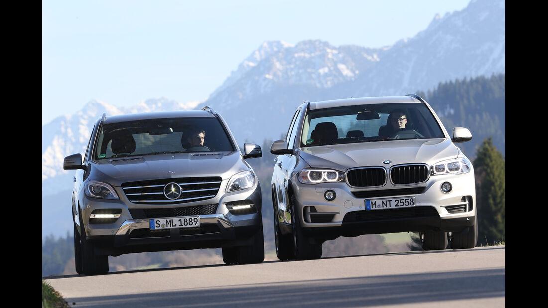 BMW X5 xDrive 25d, Mercedes ML 250 Bluetec 4Matic, Frontansicht