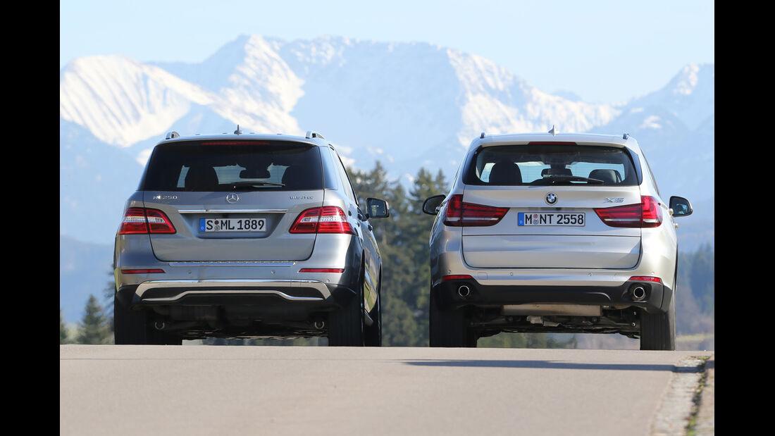 BMW X5 xDrive 25d, Mercedes ML 250 Bluetec 4Matic, Heckansicht