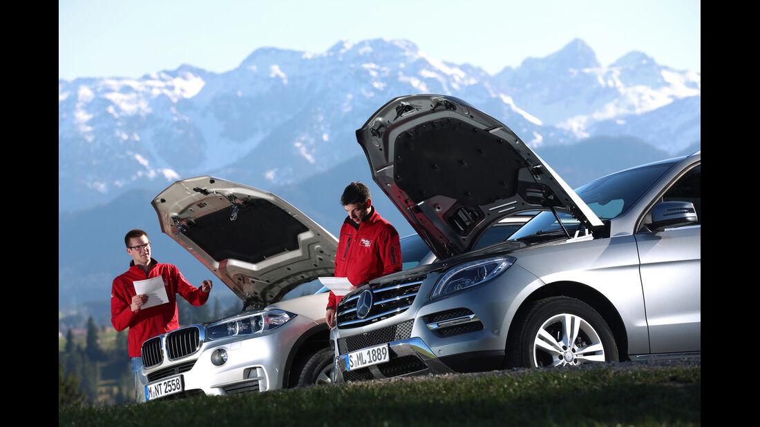BMW X5 xDrive 25d, Mercedes ML 250 Bluetec 4Matic, Motorhaube