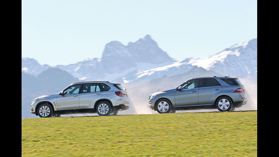 BMW X5 xDrive 25d, Mercedes ML 250 Bluetec 4Matic, Seitenansicht