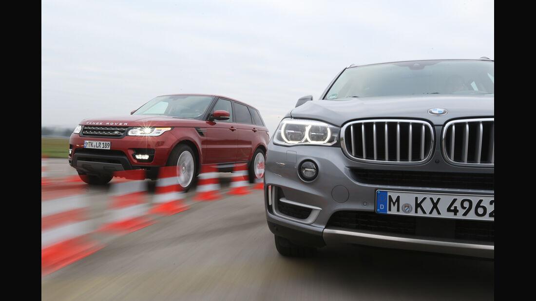 BMW X5 xDrive 30d, Range Rover Sport SDV6, Frontansicht
