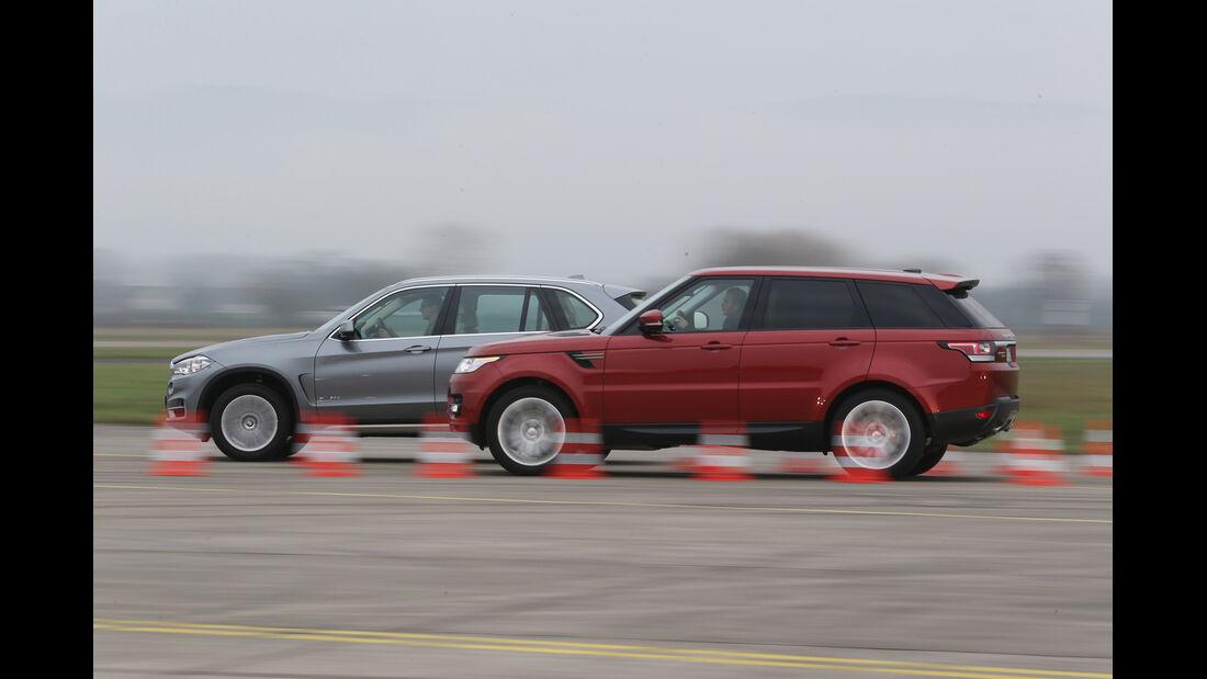 BMW X5 xDrive 30d, Range Rover Sport SDV6, Seitenansicht