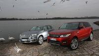 BMW X5 xDrive 30d, Range Rover Sport SDV6, Seitenansicht, Möwen