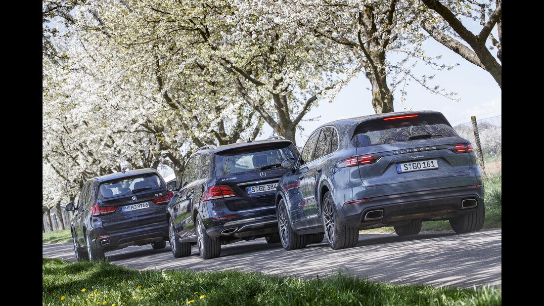 BMW X5 xDrive E35i, Mercedes GLE 400 4Matic, Porsche Cayenne, Exterieur