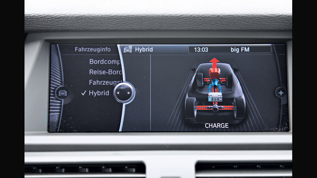 BMW X6 Active Hybrid, Anzeige, Rückfluss