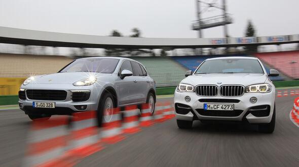 BMW X6 M50d, Porsche Cayenne S Diesel, Frontansicht