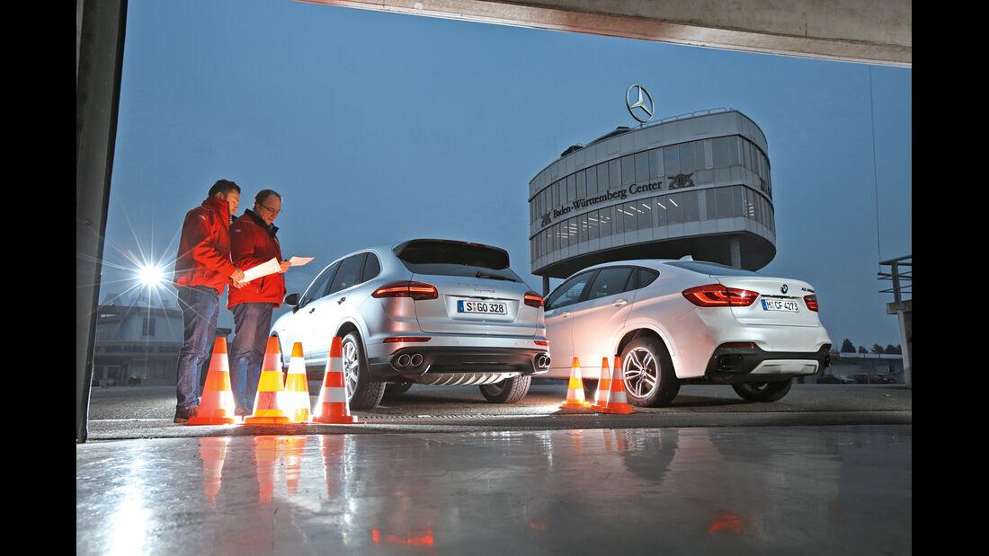 BMW X6 M50d, Porsche Cayenne S Diesel, Heckansicht