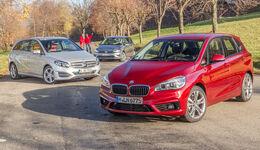BMW Zweier Active Tourer, Mercedes B-Klasse, VW Golf Sportsvan, Frontansicht