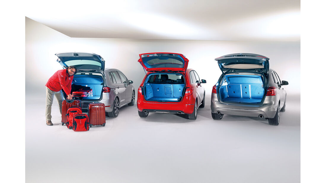 BMW Zweier Active Tourer, Mercedes B-Klasse, VW Golf Sportsvan, Heckklappe