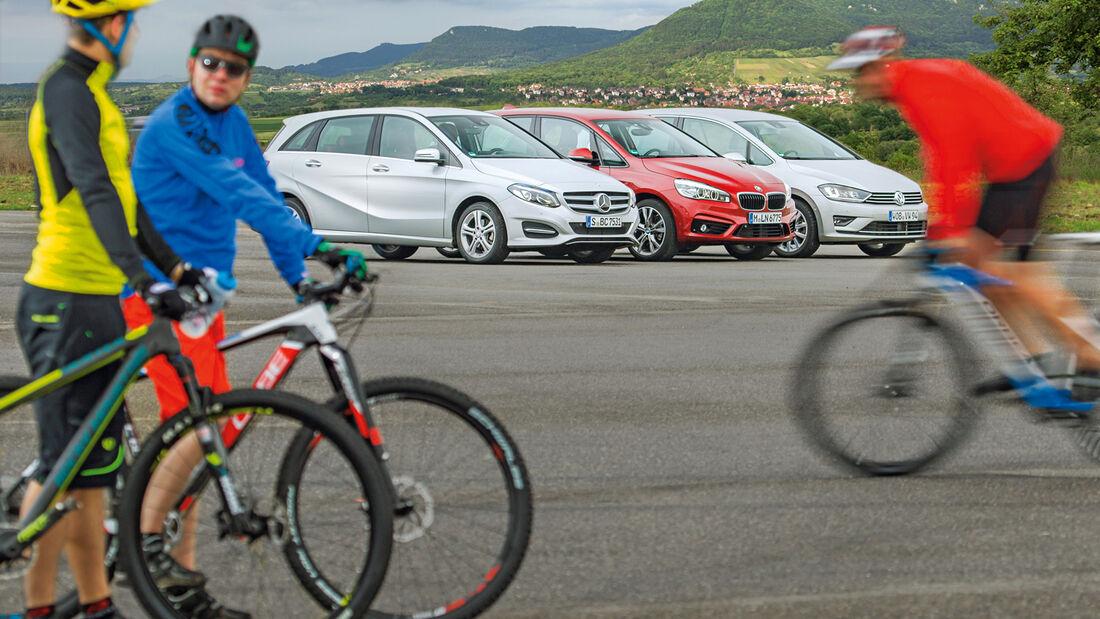 BMW Zweier Active Tourer, Mercedes B-Klasse, VW Golf Sportsvan, Seitenansicht