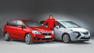 BMW Zweier Gran Tourer, Opel Zafira Tourer, Frontansicht
