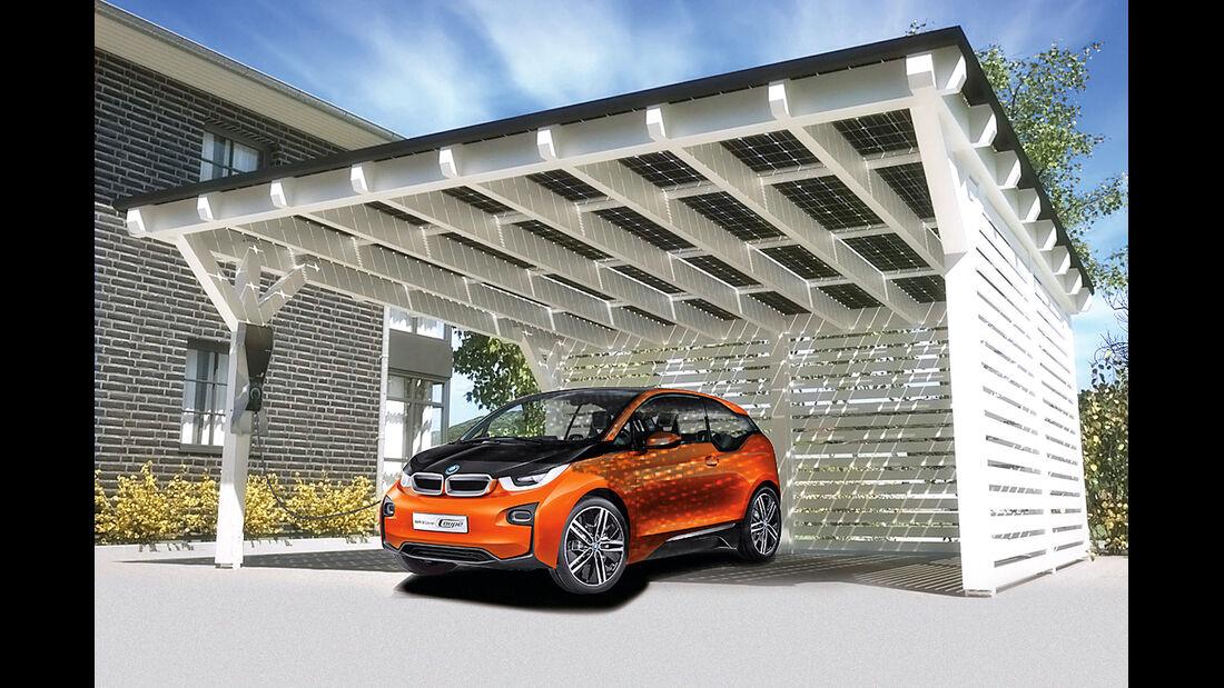 BMW i3, Carport, Solarpaneele