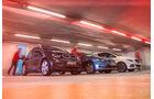 BMW i3, Mercedes B-Klasse Electric Drive, VW e-Golf, Seitenansicht