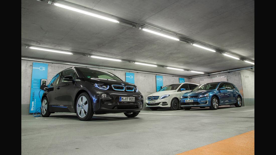 BMW i3, Mercedes B-Klasse Electric Drive, VW e-Golf, Tiefgarage