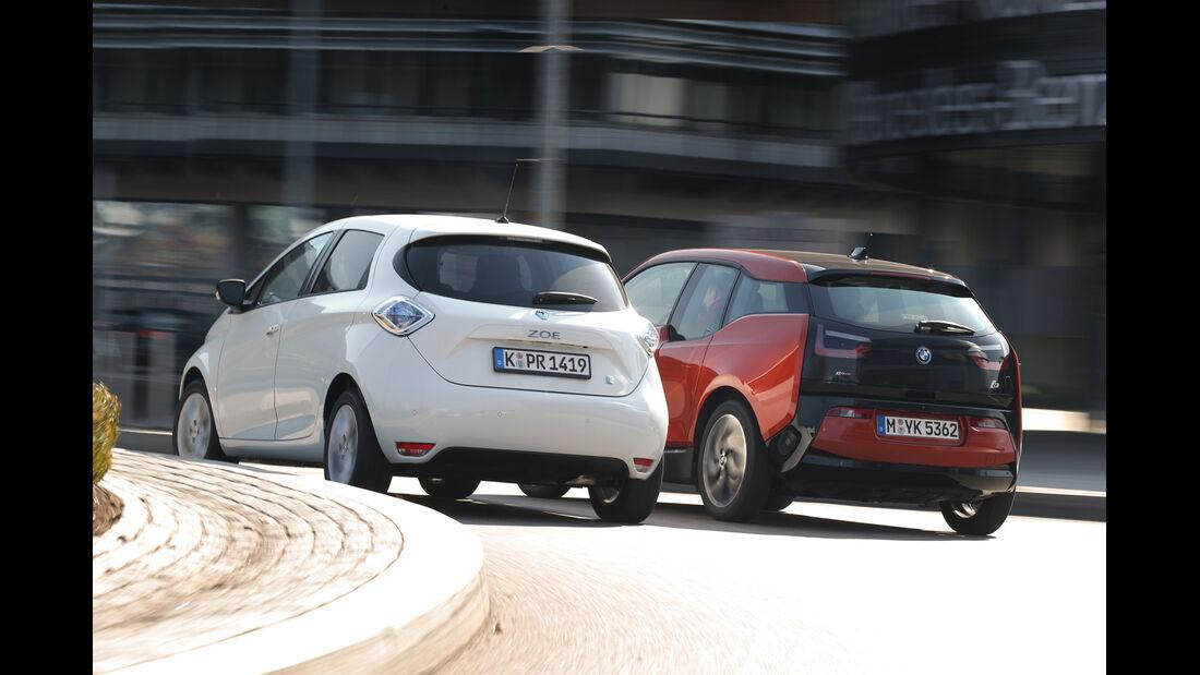BMW i3, Renault Zoe Intense, Heckansicht