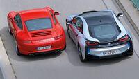 BMW i8, Porsche 911 Carrera S, Draufsicht