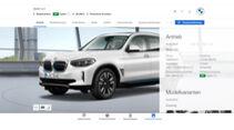 BMW iX3 X3 xDrive 30i Konfigurator Vergleich