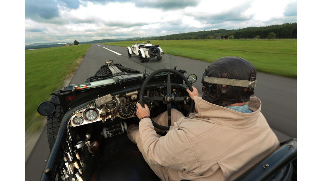 Bentley 4,5 Litre Blower, Mercedes 27/180/250 Typ 710 SS, Fahrersicht