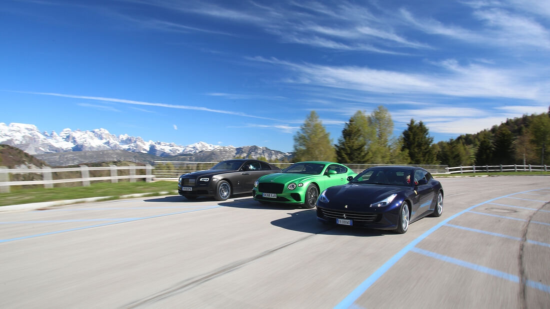 Bentley Continental GT Coupé W12, Ferrari GTC4 Lusso, Rolls-Royce Wraith Back Badge, Exterieur