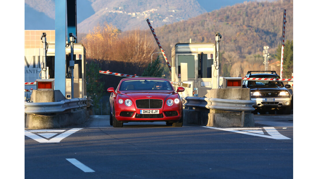 Bentley Continental GT V8, Frontansicht, Mautstelle