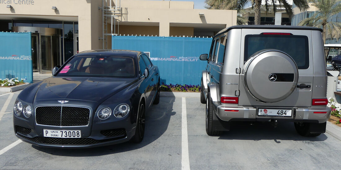 Bentley Flying Spur & Mercedes AMG G63 - Carspotting - GP Abu Dhabi 2018
