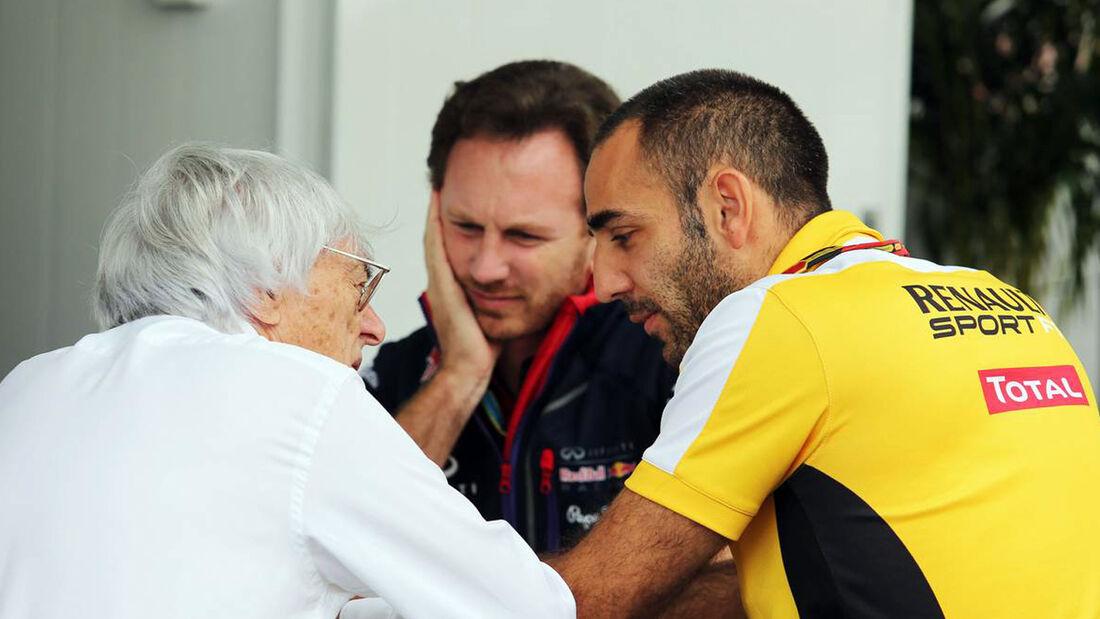 Bernie Ecclestone - Christian Horner - Cyril Abiteboul - Renault - Formel 1 - GP Brasilien - 8. November 2014