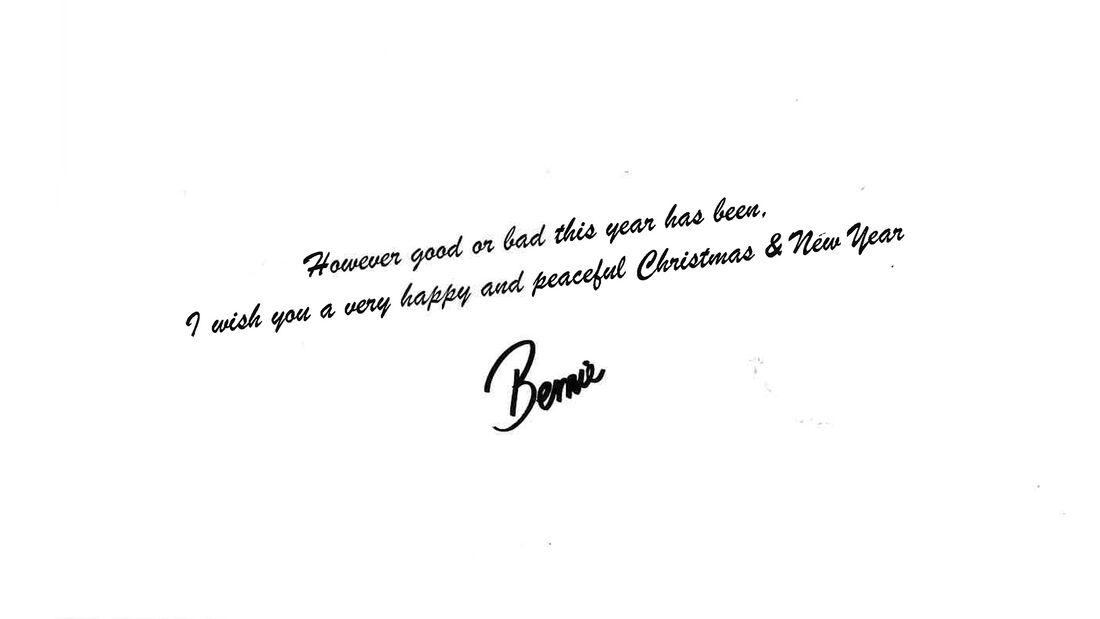 Bernie Ecclestone - Weihnachtskarte 2019